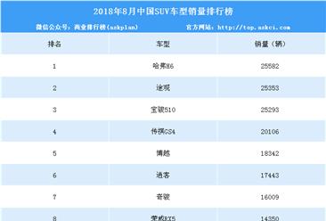 2018年8月SUV销量排名:博越、宝骏510等多款畅销车型下滑(TOP15)