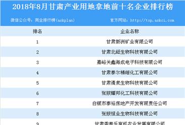 2018年8月甘肃产业用地拿地前10名企业排行榜