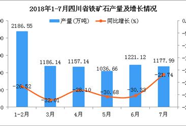 2018年1-7月四川省铁矿石产量为7965.6万吨 同比下降28.13%