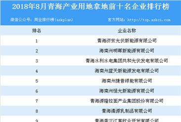 2018年8月青海产业用地拿地前10名企业排行榜