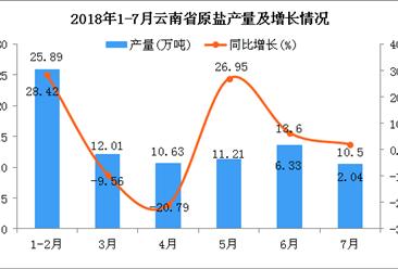 2018年1-7月云南省原盐产量为83.84万吨 同比增长6.44%