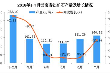 2018年1-7月云南省铁矿石产量为952.08万吨 同比下降21.84%
