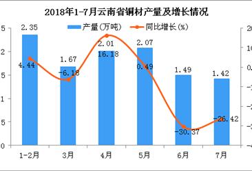 2018年1-7月云南省铜材产量为11.01万吨 同比下降7.4%