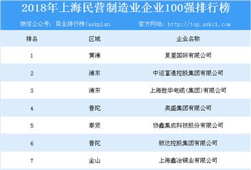 2018年上海民营制造业企业100强排行榜