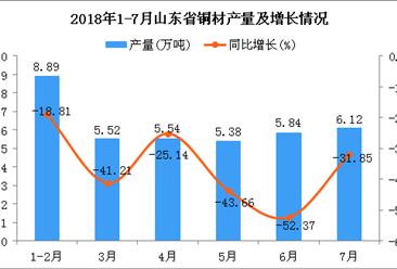 2018年1-7月山东省铜材产量及增长情况分析:同比下降36.29%