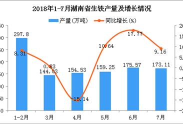 2018年1-7月湖南省生铁产量为1104.29万吨 同比增长10.03%