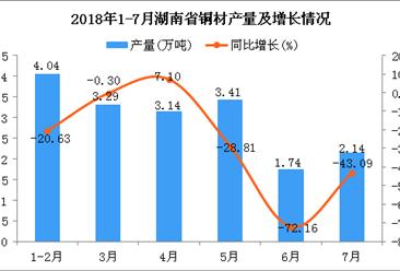2018年1-7月湖南省铜材产量为17.76万吨 同比下降33.16%(附图)