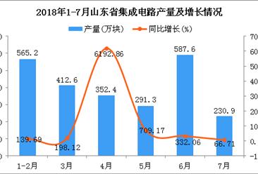2018年1-7月山东省集成电路产量为2440万块 同比增长253.47%