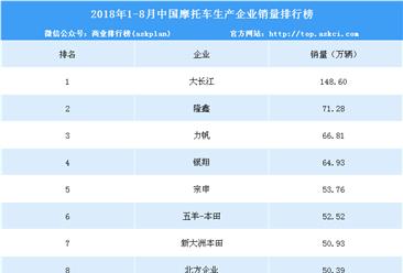 2018年1-8月摩托车企业销量排名:大长江稳居第一 销量达148.6万辆(附图表)