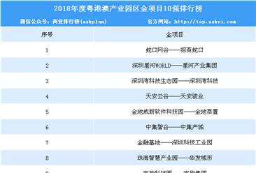 2018年度粤港澳产业园区金项目十强排行榜