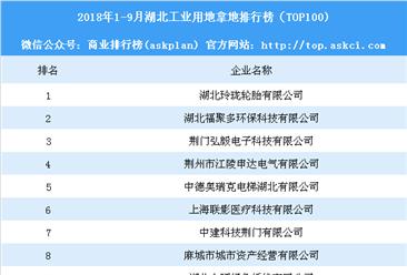 产业地产情报:2018年1-9月湖北工业用地拿地排行榜(TOP100)