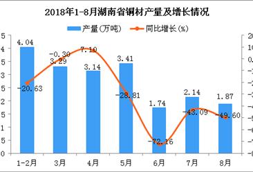 2018年1-8月湖南省铜材产量为19.63万吨 同比下降35.17%