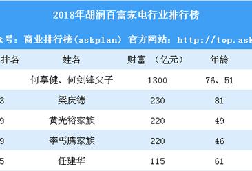 2018年胡润百富家电行业排行榜(附全榜单)