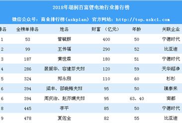 2018年胡润百富锂电池行业排行榜(附全榜单)