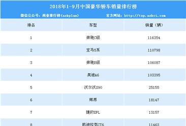 2018年1-9月豪华轿车销量排行榜