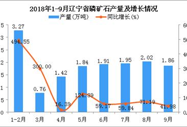2018年1-9月辽宁省磷矿石产量同比增长95.45%