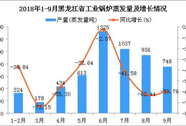 2018年1-9月黑龙江省工业锅炉蒸发量同比下降46.93%