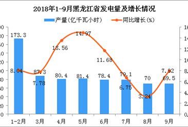 2018年1-9月黑龙江省发电量为719.4亿千瓦小时 同比增长9.08%