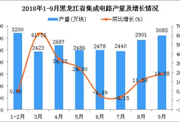 2018年1-9月黑龙江省集成电路产量为21698万块 同比增长13.6%