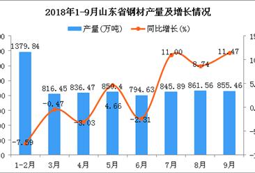 2018年1-9月山东省钢材产量为7240.7万吨 同比增长1.64%