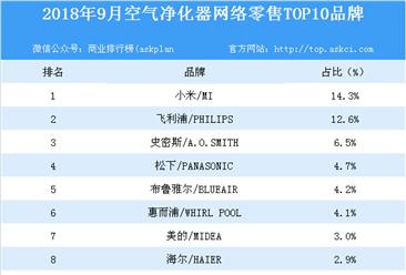 2018年9月空气净化器网络零售TOP10品牌排行榜