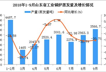 2018年1-9月山东省工业锅炉蒸发量及增长情况分析