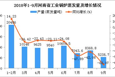 2018年1-9月河南省工业锅炉蒸发量及增长情况分析(附图)