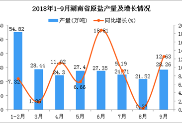 2018年1-9月湖南省原盐产量为236.8万吨 同比增长5.63%