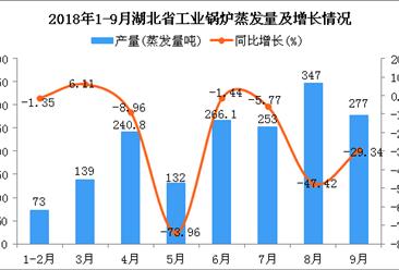 2018年1-9月湖北省工业锅炉蒸发量及增长情况分析