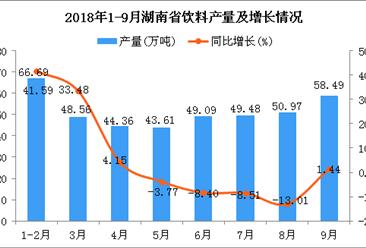 2018年1-9月湖南省饮料产量为411.25万吨 同比增长3.07%