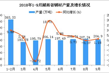 2018年1-9月湖南省钢材产量及增长情况分析:同比增长7.49%