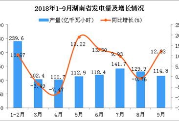 2018年1-9月湖南省发电量同比增长8.48%(图)