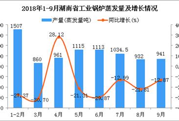 2018年1-9月湖南省工业锅炉蒸发量及增长情况分析(附图)