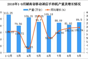 2018年1-9月湖南省手机产量为755.22万台 同比增长131.6%