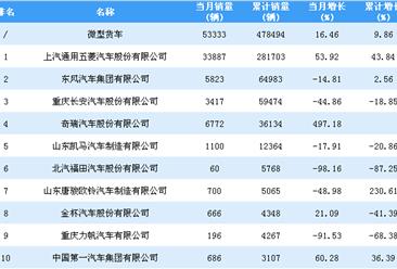 2018年1-9月微型货车企业销量排行榜TOP10