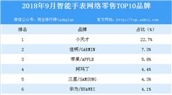 2018年9月智能手表网络零售TOP10品牌排行榜
