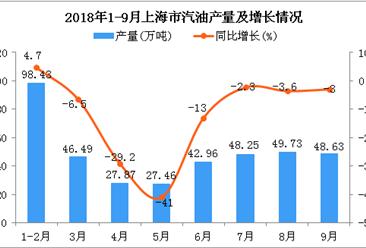2018年1-9月上海市汽油产量及增长情况分析