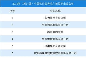 2018年中国软件业务收入前百家企业排行榜:华为第一,中兴/海尔分列二三