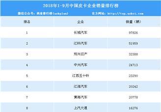 2018年1-9月中国皮卡企业销量排行榜(TOP10)