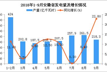 2018年9月安徽省发电量明显下降 同比增长22.8%