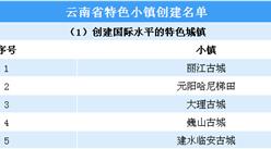 第三批国家级特色小镇申报:云南省特色小镇创建名单一览(附表)