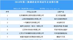 2018年第三批制造业单项冠军企业排行榜