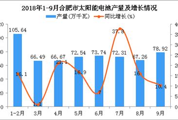 2018年1-9月合肥市太阳能电池产量为603.57万千瓦 同比增长15.1%