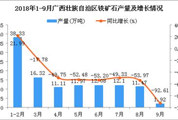 2018年1-9月广西壮族自治区铁矿石产量为115.3万吨 同比下降42.11%