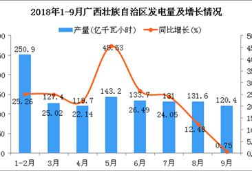 2018年1-9月广西壮族自治区发电量同比增长22.35%