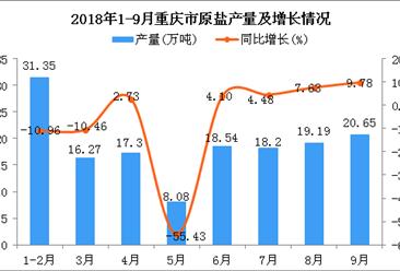 2018年9月重庆市原盐产量持续增长 同比增长9.78%