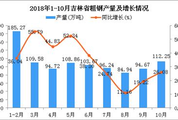2018年1-10月吉林省粗钢产量为990.2万吨 同比增长48.81%