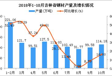 2018年1-10月吉林省钢材产量为1090.82万吨 同比增长44.81%
