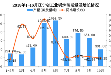 2018年1-10月辽宁省工业锅炉蒸发量为5522.1蒸发量吨 同比下降44.09%