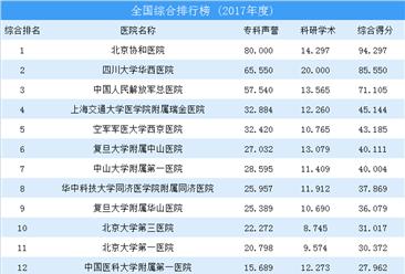 2017年中国医院综合排行榜TOP100